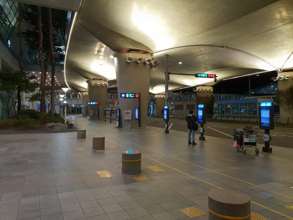 Bus stops in Incheon airport