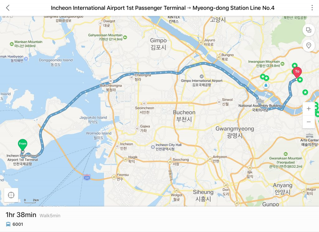 Taxi from Incheon to Myeongdong