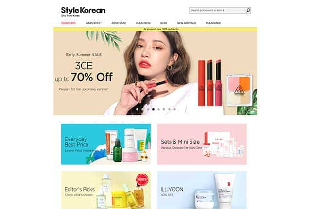 K-beauty online shopping mall