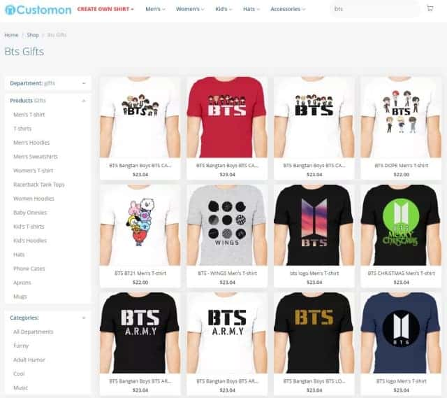 CustomOn BTS T-shirts