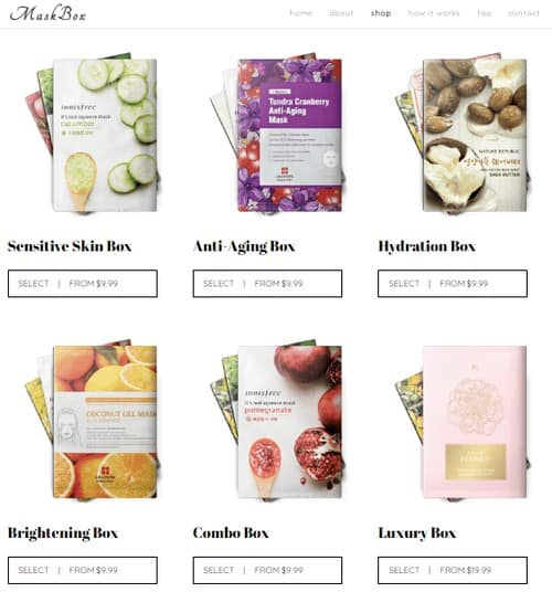 Korean subscription box mask products