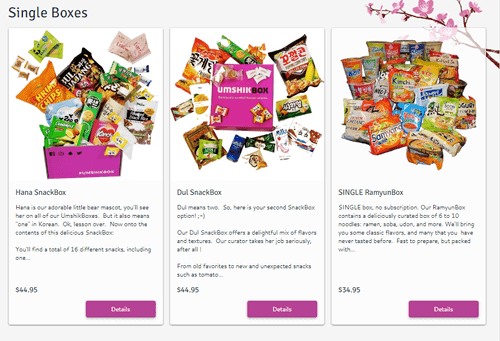 Korean subscription box umshik snacks