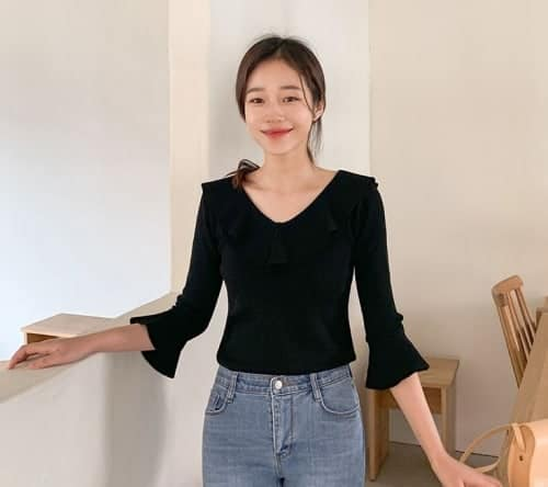 Bell-Sleeve Mesh-Panel Back Knit Top