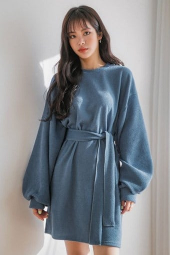 Bishop-Sleeve Knit Dress with Sash