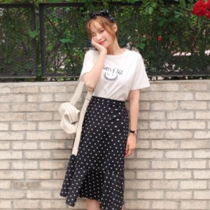 Cherryville - Short Sleeve Printed T-Shirt + Band Waist Dotted Mermaid Skirt