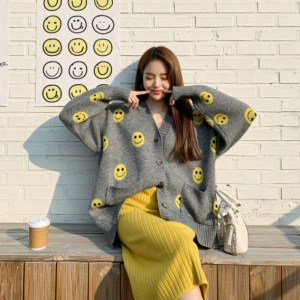 DEEPNY - Smiley-Pattern Oversized Cardigan