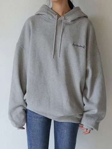 Stylevana - Long-Sleeve Letter Embroidered Hoodie