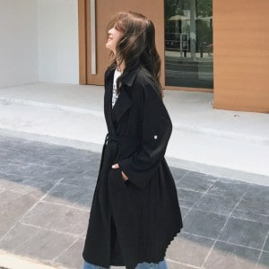 Seoulflash - Double-Breasted Trench Coat