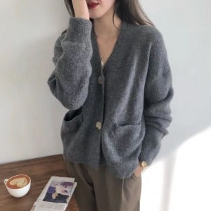 Souland - Long-Sleeve Plain Knit Cardigan