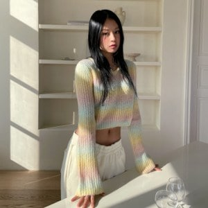 Cropped Gradient Knit Top