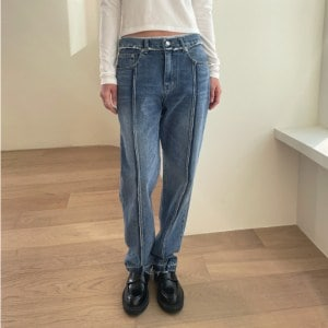 Slit Accent Washed Jeans